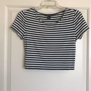 Forever 21 black and white striped crop top